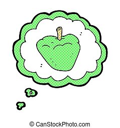 thought bubble cartoon organic apple - freehand drawn...