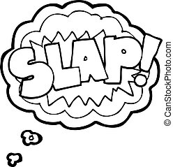 thought bubble cartoon slap symbol - freehand drawn thought...