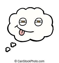 thought bubble cartoon suspicious eyes