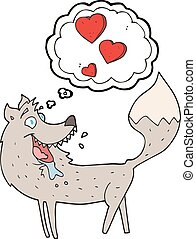 thought bubble cartoon wolf in love