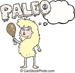thought bubble cartoon woman on paleo diet - freehand drawn...