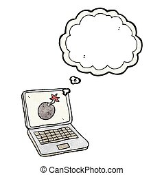 thought bubble textured cartoon laptop computer with error screen