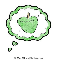 thought bubble textured cartoon organic apple - freehand...