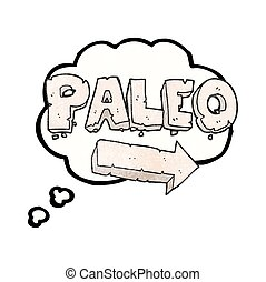 thought bubble textured cartoon paleo diet pointing arrow -...