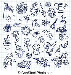 freehand, ensemble, items., dessin, printemps