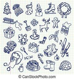 freehand, feiertag, zeichnung, winter
