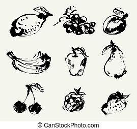 freehand, fruits., ensemble, dessin
