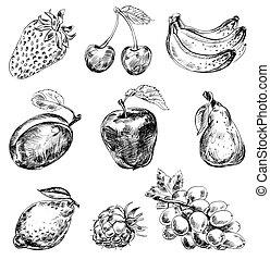 freehand, frutas, jogo, desenho