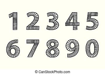 Ziffern 9 8 7 6 0 Schwarz Zahlen Weißes Lizenzfreie Vektor Clip Art