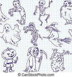 freehand, halloween, dessin