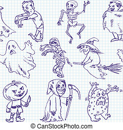 freehand, halloween, tekening