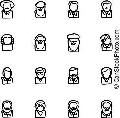 freehand, icônes, scientifiques, avatar, célèbre