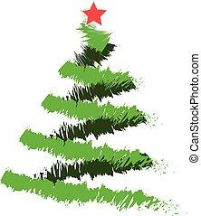 Freehand illustration of grunge Christmas tree