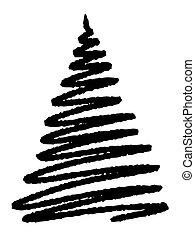 grunge Christmas tree on white background