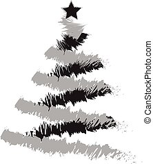 Freehand illustration of grunge Christmas tree on white...