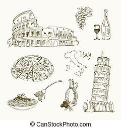 freehand, italië, tekening, items