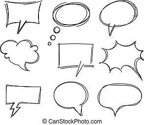 freehand, items, toespraak, tekening, bel