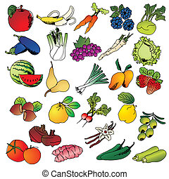 freehand, legumes, frutas
