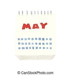 retro cartoon calendar showing month of may