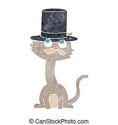 retro cartoon cat in top hat