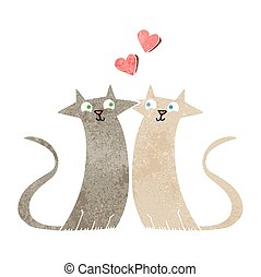 retro cartoon cats in love