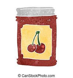 retro cartoon cherry jam jar