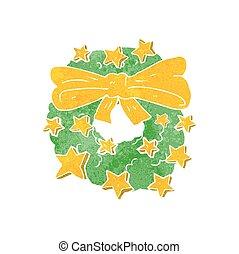 retro cartoon christmas wreath