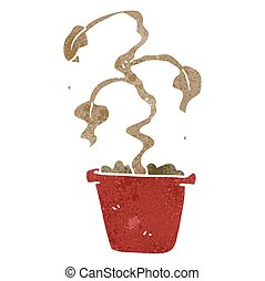 retro cartoon dead houseplant - freehand retro cartoon dead...