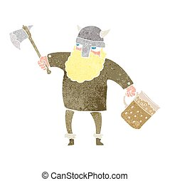 retro cartoon drunk viking