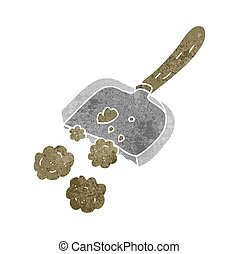 retro cartoon dust pan - freehand retro cartoon dust pan
