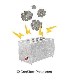 freehand retro cartoon faulty toaster