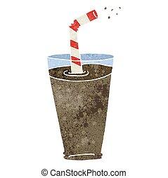 retro cartoon fizzy drink in glass