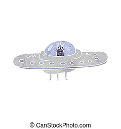 retro cartoon flying saucer
