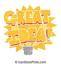 retro cartoon GREAT IDEA! symbol