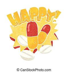 retro cartoon happy pills