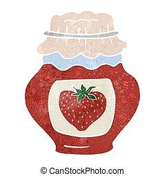 retro cartoon jar of strawberry jam