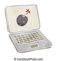 retro cartoon laptop computer with error screen