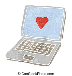 retro cartoon laptop computer with heart symbol on screen