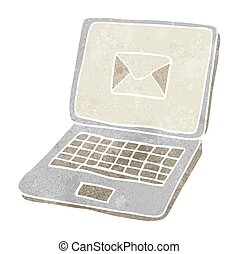 retro cartoon laptop computer with message symbol on screen