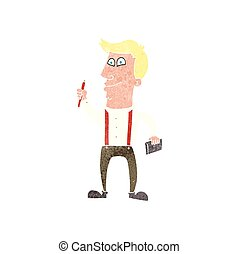 retro cartoon man with notebook and pen