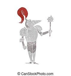 retro cartoon medieval knight