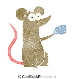 retro cartoon mouse with coffee cup