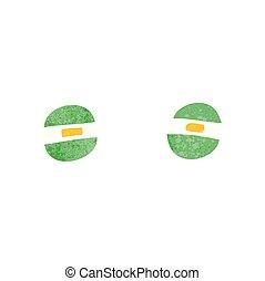 retro cartoon narrowed alien eyes