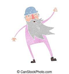 retro cartoon old man in thermal underwear
