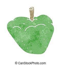 retro cartoon organic apple - freehand retro cartoon organic...