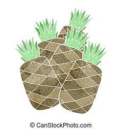 retro cartoon pineapples
