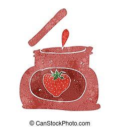 retro cartoon popping jar of jam