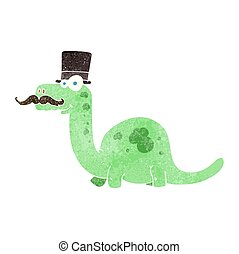 retro cartoon posh dinosaur - freehand retro cartoon posh...