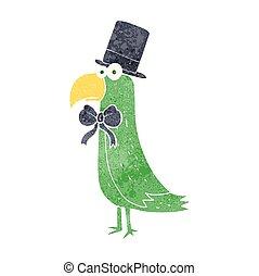 retro cartoon posh parrot