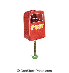 retro cartoon post box - freehand retro cartoon post box